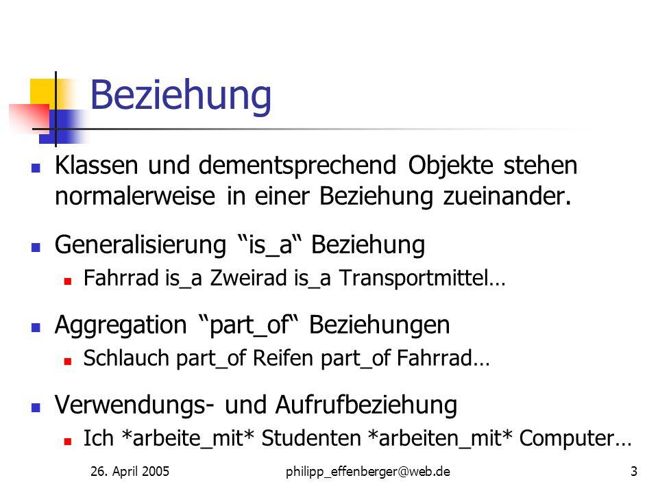 26. April 2005philipp_effenberger@web.de3 Beziehung Klassen und dementsprechend Objekte stehen normalerweise in einer Beziehung zueinander. Generalisi