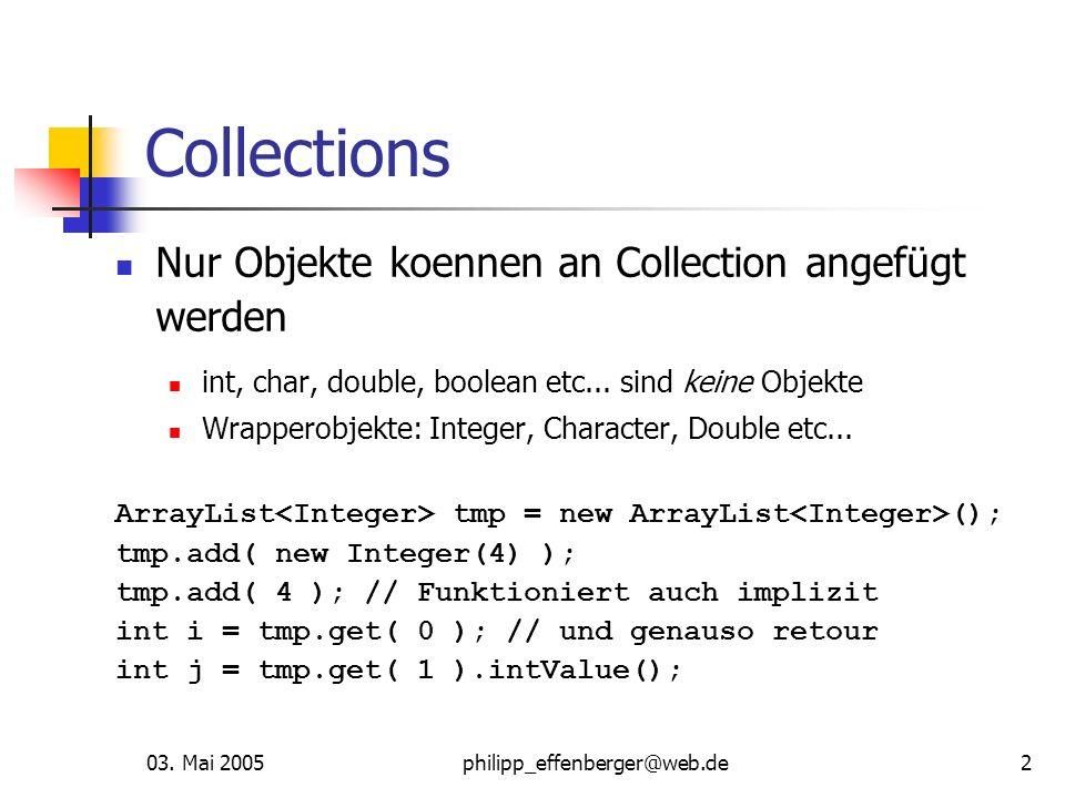 03. Mai 2005philipp_effenberger@web.de2 Collections Nur Objekte koennen an Collection angefügt werden int, char, double, boolean etc... sind keine Obj