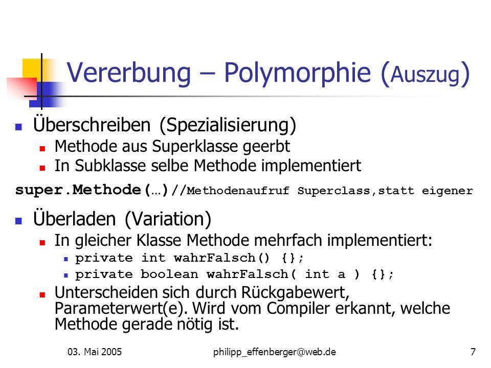 03. Mai 2005philipp_effenberger@web.de7 Vererbung – Polymorphie ( Auszug ) Überschreiben (Spezialisierung) Methode aus Superklasse geerbt In Subklasse