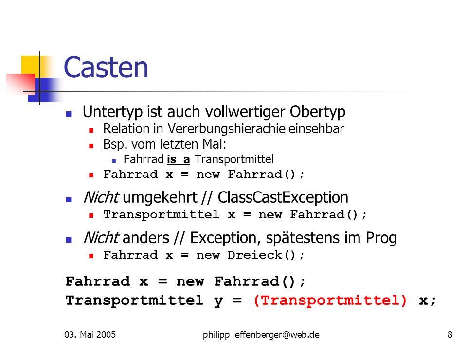 03. Mai 2005philipp_effenberger@web.de8 Casten Untertyp ist auch vollwertiger Obertyp Relation in Vererbungshierachie einsehbar Bsp. vom letzten Mal:
