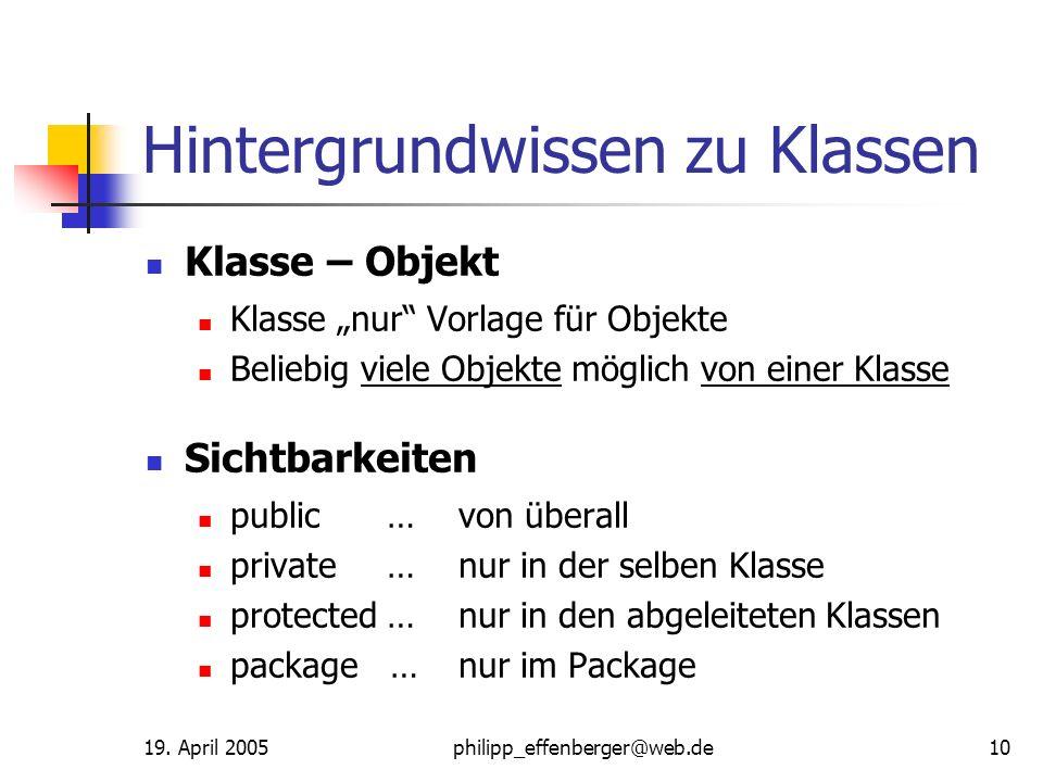 19. April 2005philipp_effenberger@web.de10 Hintergrundwissen zu Klassen Klasse – Objekt Klasse nur Vorlage für Objekte Beliebig viele Objekte möglich