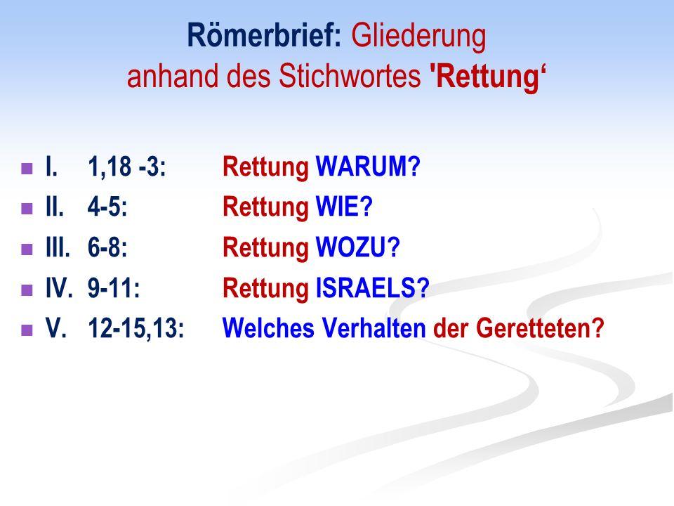 Römerbrief: Gliederung anhand des Stichwortes Rettung I.