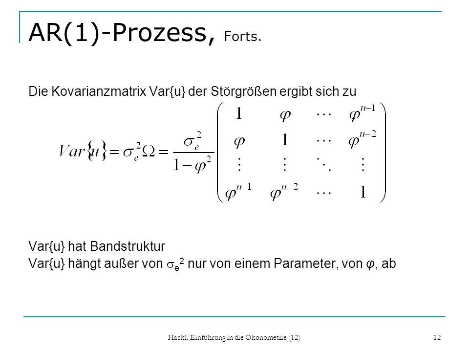 Hackl, Einführung in die Ökonometrie (12) 13 Autokorrelationsfunktion Autokorrelation der Ordnung k, k = Corr{u t, u t-k }, ist unabhängig von t (Kovarianz-Stationarität) Autokorrelationsfunktion: Zuordung zwischen k und k Im allgemeinen wird k mit wachsendem k immer kleiner