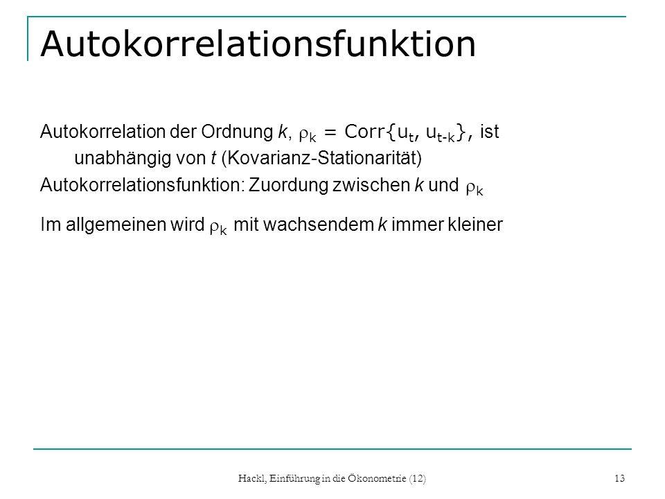 Hackl, Einführung in die Ökonometrie (12) 13 Autokorrelationsfunktion Autokorrelation der Ordnung k, k = Corr{u t, u t-k }, ist unabhängig von t (Kova