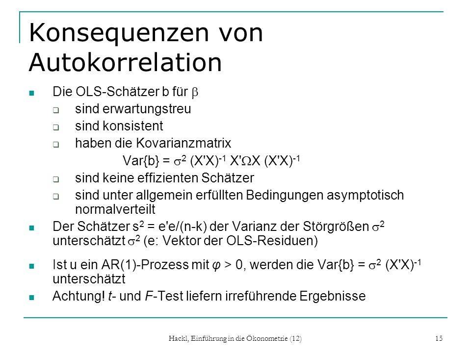 Hackl, Einführung in die Ökonometrie (12) 15 Konsequenzen von Autokorrelation Die OLS-Schätzer b für sind erwartungstreu sind konsistent haben die Kov