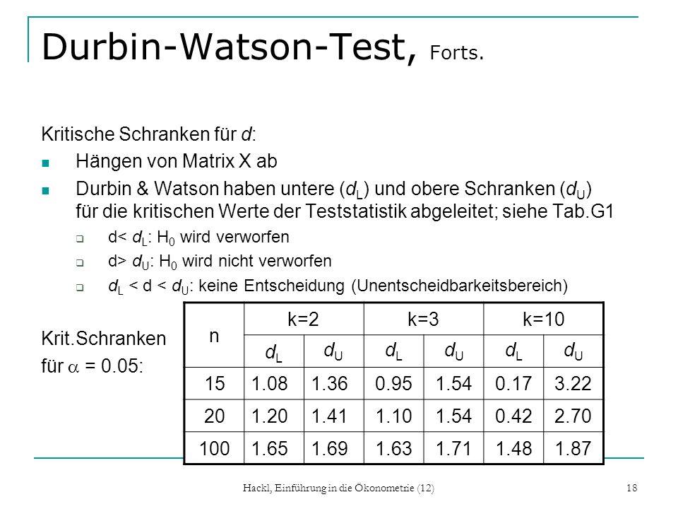 Hackl, Einführung in die Ökonometrie (12) 18 Durbin-Watson-Test, Forts. Kritische Schranken für d: Hängen von Matrix X ab Durbin & Watson haben untere