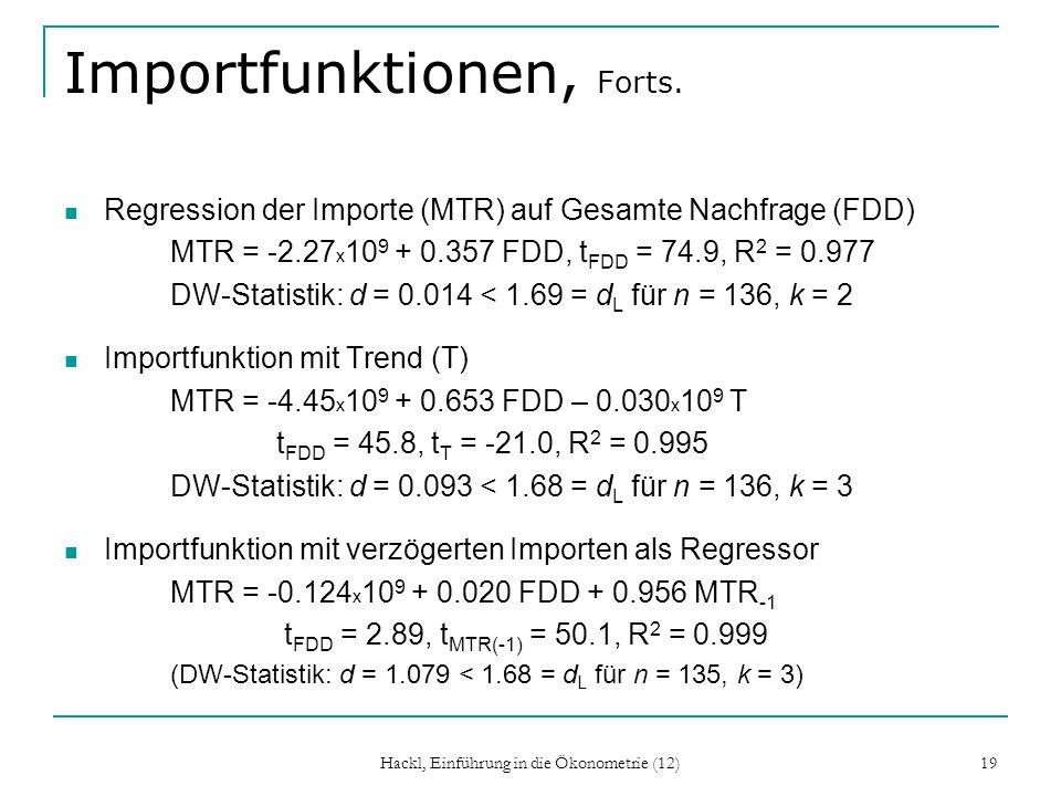 Hackl, Einführung in die Ökonometrie (12) 19 Importfunktionen, Forts. Regression der Importe (MTR) auf Gesamte Nachfrage (FDD) MTR = -2.27 x 10 9 + 0.