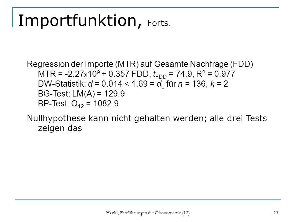 Hackl, Einführung in die Ökonometrie (12) 23 Importfunktion, Forts. Regression der Importe (MTR) auf Gesamte Nachfrage (FDD) MTR = -2.27 x 10 9 + 0.35