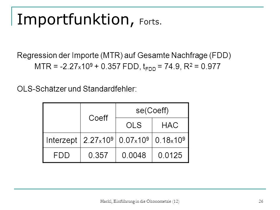 Hackl, Einführung in die Ökonometrie (12) 26 Importfunktion, Forts. Regression der Importe (MTR) auf Gesamte Nachfrage (FDD) MTR = -2.27 x 10 9 + 0.35