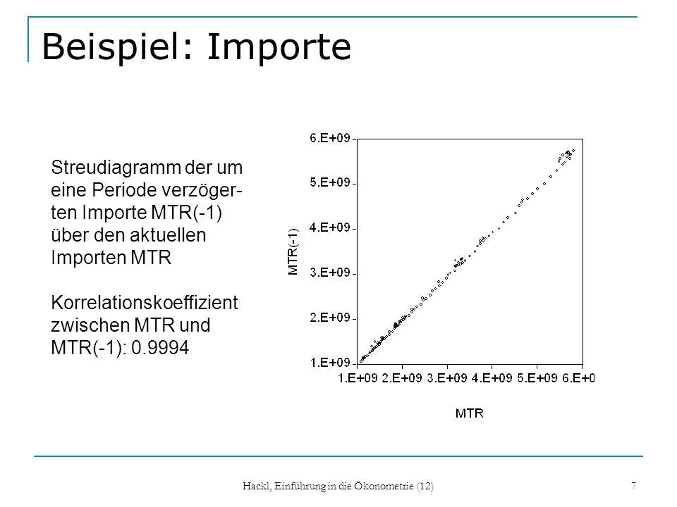 Hackl, Einführung in die Ökonometrie (12) 8 Typische Situationen für Autokorrelation Autokorrelation tritt typischerweise auf wenn ein relevanter Regressor im Modell nicht berücksichtigt wird; Missspezifikation des Modells die funktionale Form eines Regressors fehlerhaft spezifiziert ist die abhängige Variable in einer Weise autokorreliert ist, die durch den systematischen Teil des Modells nicht adäquat dargestellt wird Achtung.