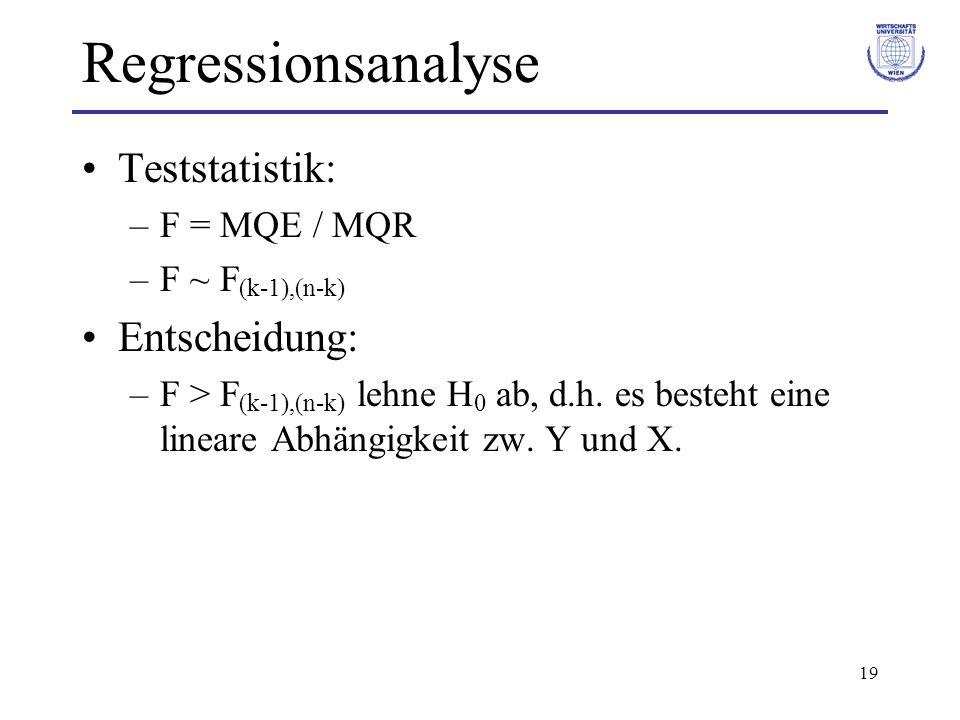 19 Regressionsanalyse Teststatistik: –F = MQE / MQR –F ~ F (k-1),(n-k) Entscheidung: –F > F (k-1),(n-k) lehne H 0 ab, d.h. es besteht eine lineare Abh