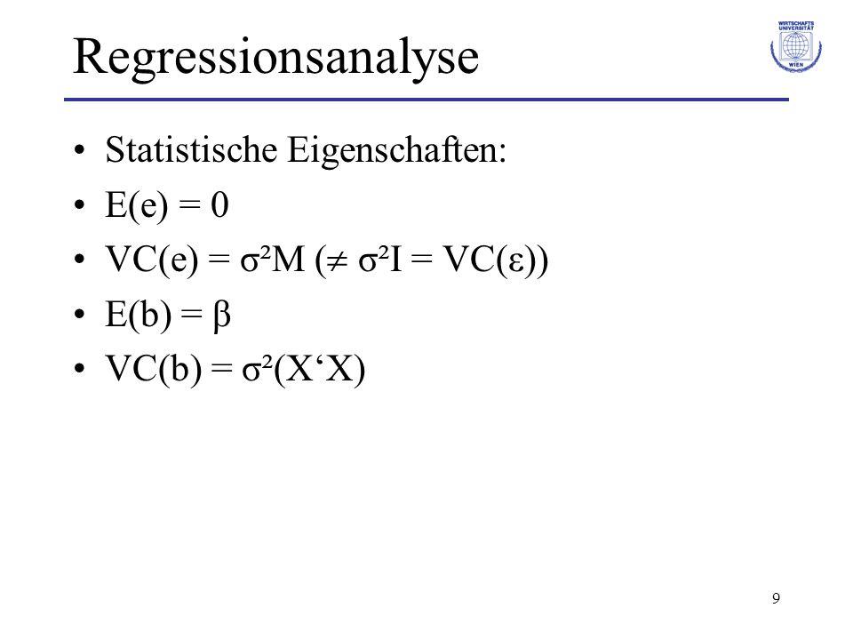 20 Regressionsanalyse Lineares multiples Bestimmtheitsmaß: –R² = SSE / SST = 1 – SSR / SST –Es gilt: 0 R² 1 Linearer multipler Korrelationskoeffizient: –r = + R², absolute Größe (unterschiedliche Vorzeichen der einzelnen Koeffizienten mögl.)