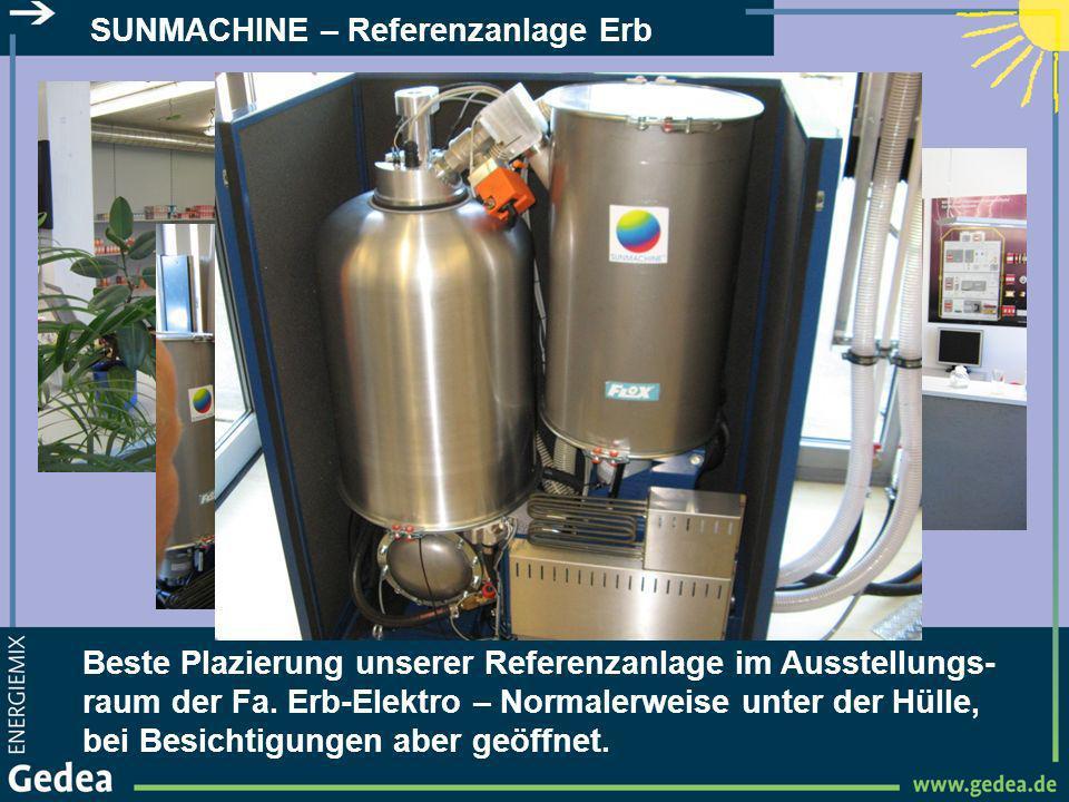 SUNMACHINE – Referenzanlage Erb Rechts der Pellet-Speicher, links der Kopf vom Pellet-Brenner.