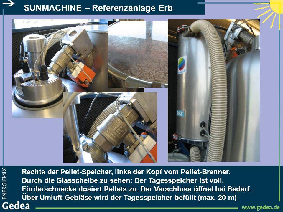 SUNMACHINE – Referenzanlage Erb Rechts der Pellet-Speicher, links der Kopf vom Pellet-Brenner. Durch die Glasscheibe zu sehen: Der Tagesspeicher ist v