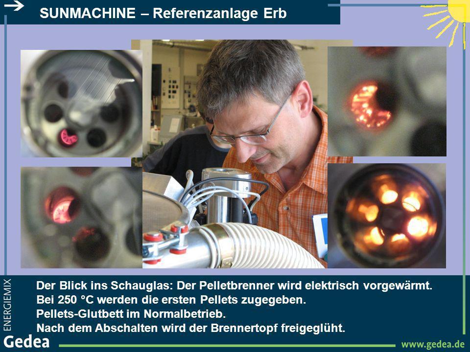 SUNMACHINE – Referenzanlage Erb Der Blick ins Schauglas: Der Pelletbrenner wird elektrisch vorgewärmt. Bei 250 °C werden die ersten Pellets zugegeben.