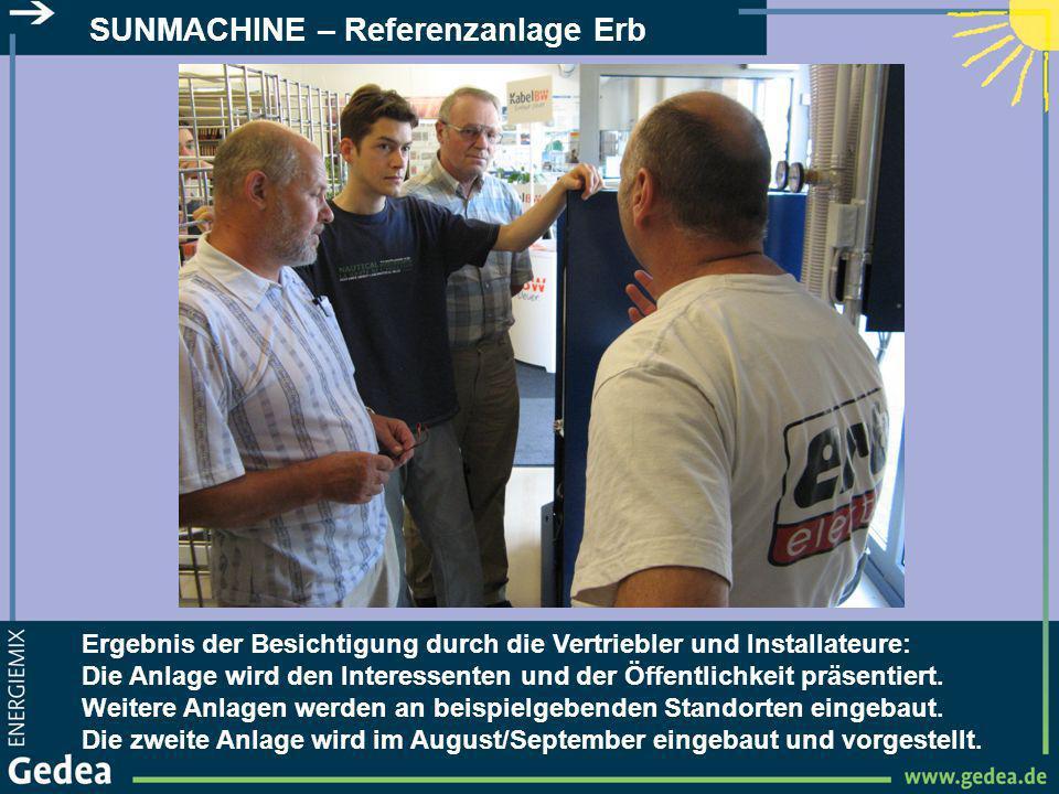 SUNMACHINE – Referenzanlage Erb Ergebnis der Besichtigung durch die Vertriebler und Installateure: Die Anlage wird den Interessenten und der Öffentlic