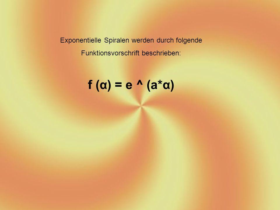 e : - ist die Eulersche Zahl - Sie hat einen Wert von etwa 2,718281828 a : - ein Faktor, der entscheidet wie schnell der Radius der Spirale zunimmt