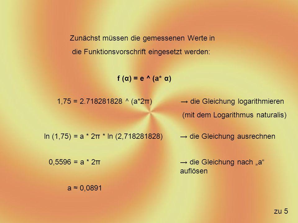 α [x] r (Radius) [f(x)] a 2 π1,750,0891 4 π3,30,093 6 π60,095 a 0,0924 Da beim ausmessen der Spirale Ungenauigkeiten aufkommen ist der Wert a nicht genau bestimmbar, daher muss ein Mittelwert berechnet werden: