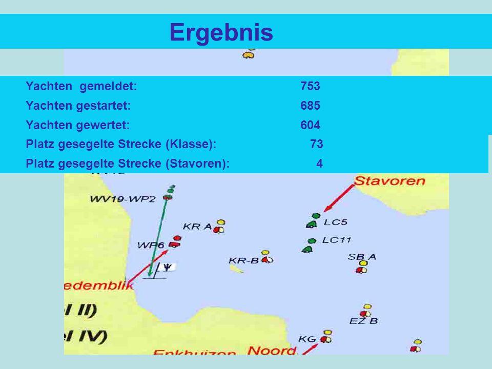 Ergebnis Platz gesegelte Strecke (Klasse): 73 Yachten gemeldet: 753 Yachten gestartet: 685 Yachten gewertet: 604 Platz gesegelte Strecke (Stavoren): 4