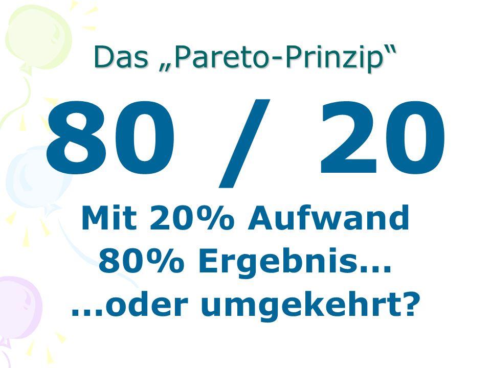 Das Pareto-Prinzip 80 / 20 Mit 20% Aufwand 80% Ergebnis......oder umgekehrt?