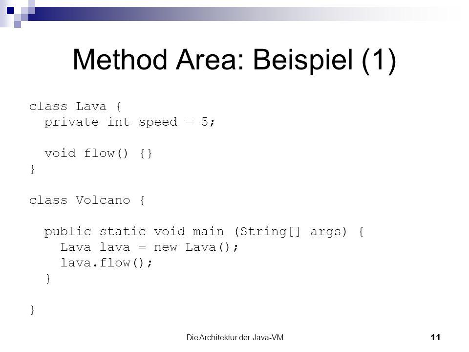 Die Architektur der Java-VM11 Method Area: Beispiel (1) class Lava { private int speed = 5; void flow() {} } class Volcano { public static void main (