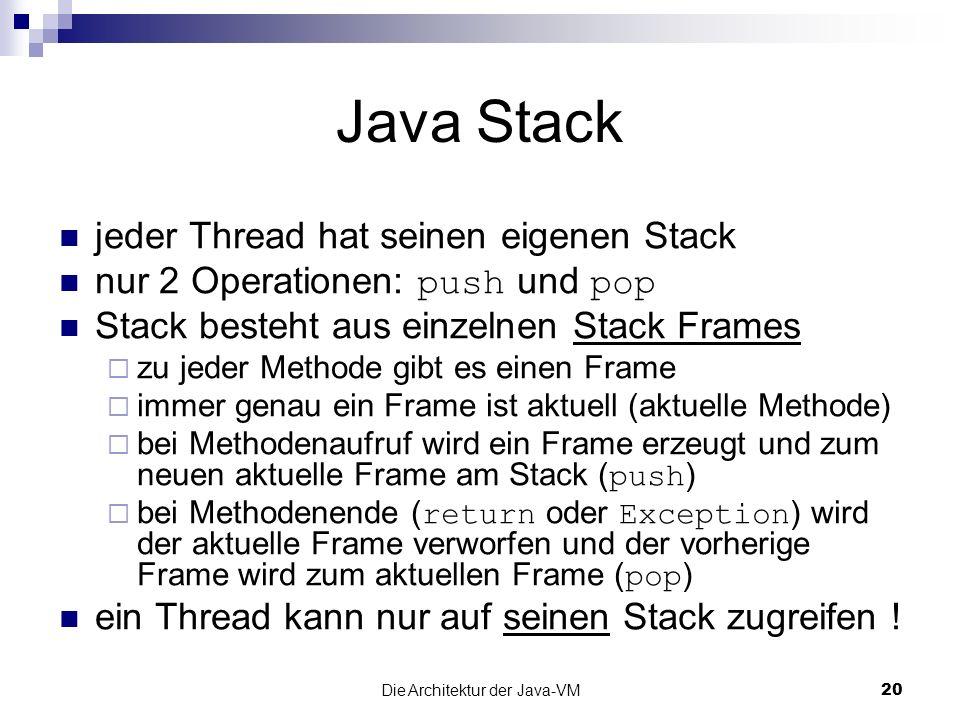 Die Architektur der Java-VM20 Java Stack jeder Thread hat seinen eigenen Stack nur 2 Operationen: push und pop Stack besteht aus einzelnen Stack Frame