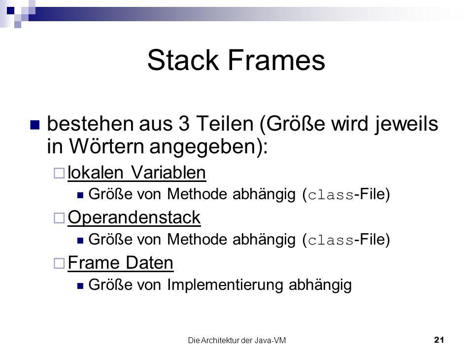 Die Architektur der Java-VM21 Stack Frames bestehen aus 3 Teilen (Größe wird jeweils in Wörtern angegeben): lokalen Variablen Größe von Methode abhäng