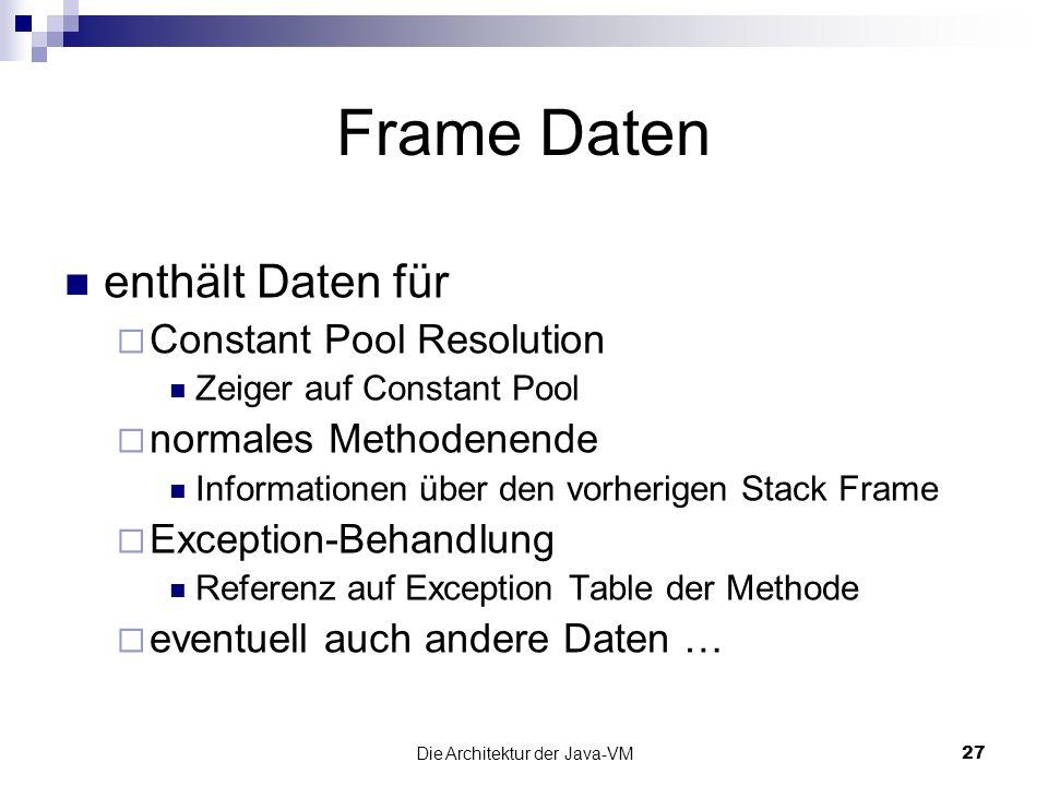 Die Architektur der Java-VM27 Frame Daten enthält Daten für Constant Pool Resolution Zeiger auf Constant Pool normales Methodenende Informationen über