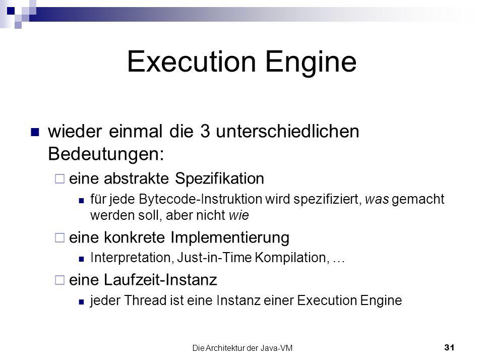 Die Architektur der Java-VM31 Execution Engine wieder einmal die 3 unterschiedlichen Bedeutungen: eine abstrakte Spezifikation für jede Bytecode-Instr