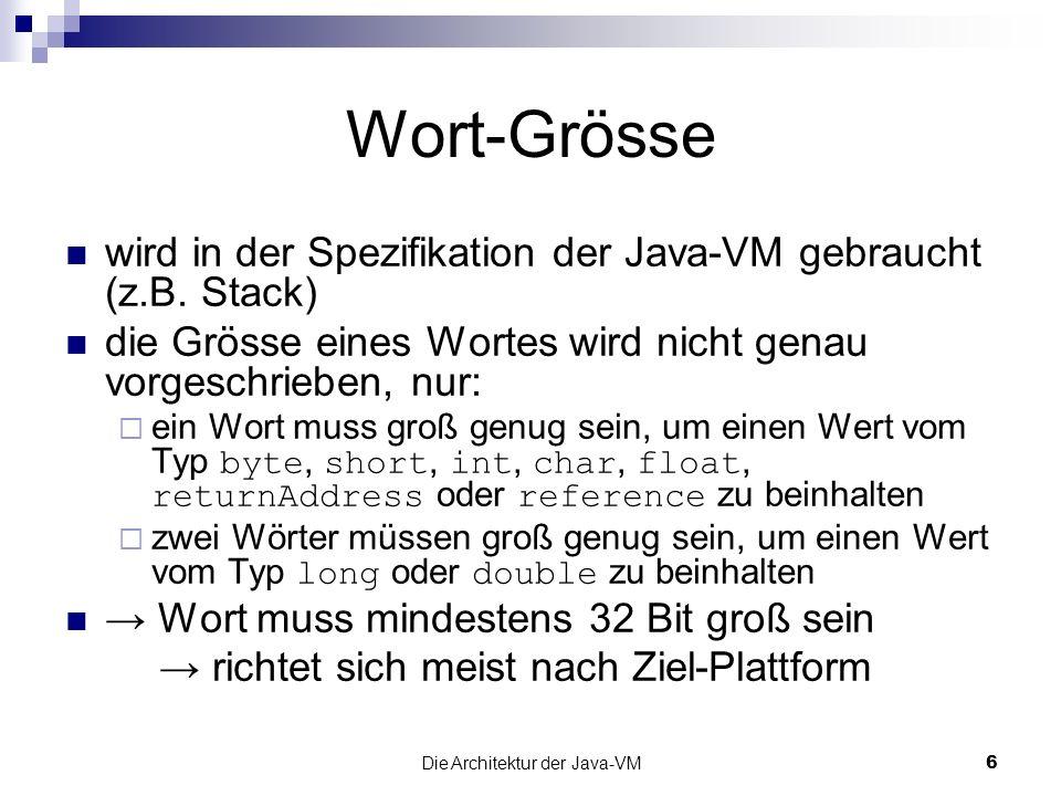 Die Architektur der Java-VM27 Frame Daten enthält Daten für Constant Pool Resolution Zeiger auf Constant Pool normales Methodenende Informationen über den vorherigen Stack Frame Exception-Behandlung Referenz auf Exception Table der Methode eventuell auch andere Daten …