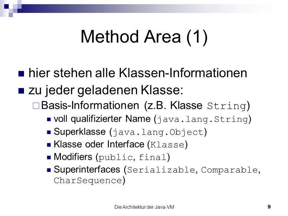 Die Architektur der Java-VM10 Method Area (2) zu jeder geladenen Klasse: erweiterte Informationen Constant Pool für die Klasse Konstanten der Klasse symbolische Referenzen zu Klassen, Feldern & Methoden Felder-Informationen & -Reihenfolge Methoden-Informationen, -Reihenfolge & Bytecode Exception Table für jede Methode statische Variablen Referenz auf Instanz von ClassLoader Referenz auf Instanz von Class