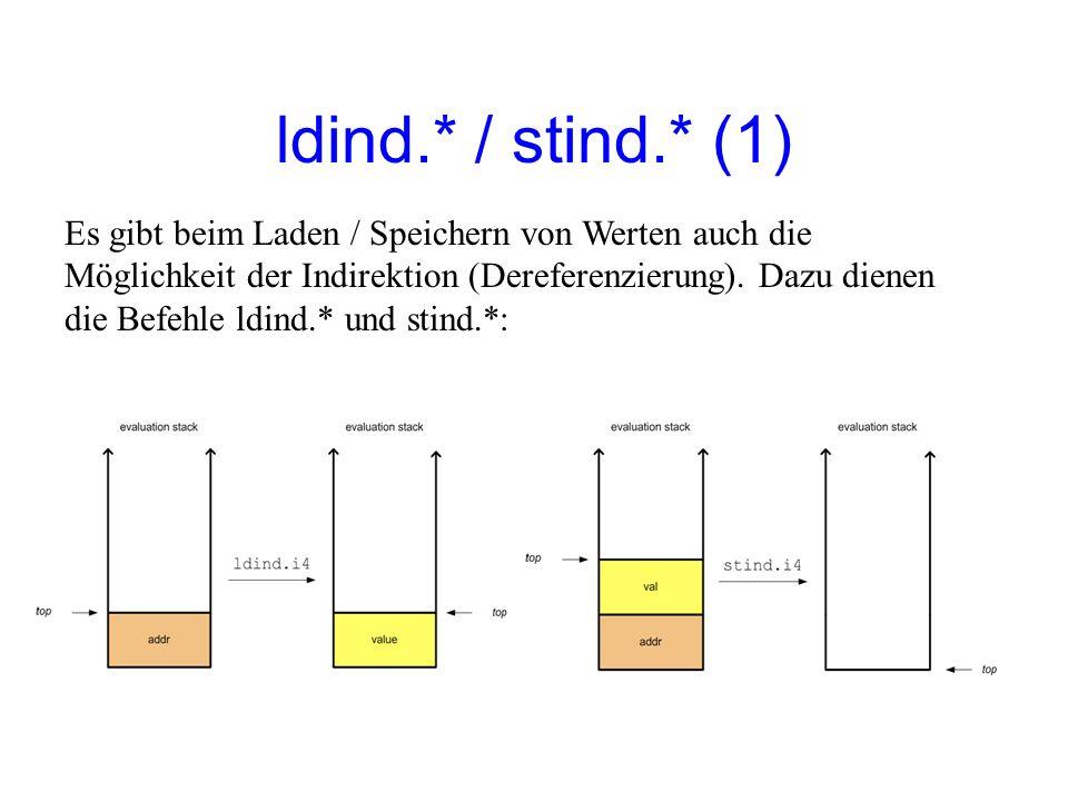 ldind.* / stind.* (1) Es gibt beim Laden / Speichern von Werten auch die Möglichkeit der Indirektion (Dereferenzierung).