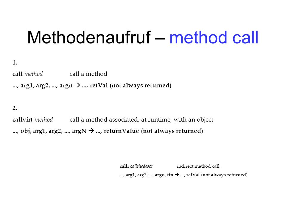 Methodenaufruf – method call 1.