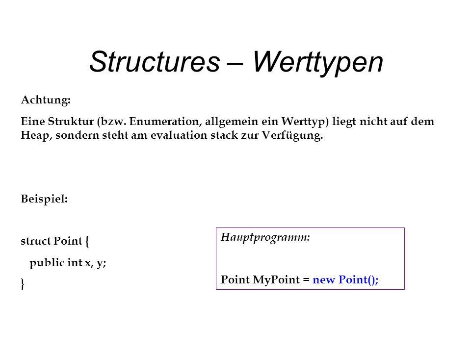Structures – Werttypen Achtung: Eine Struktur (bzw.
