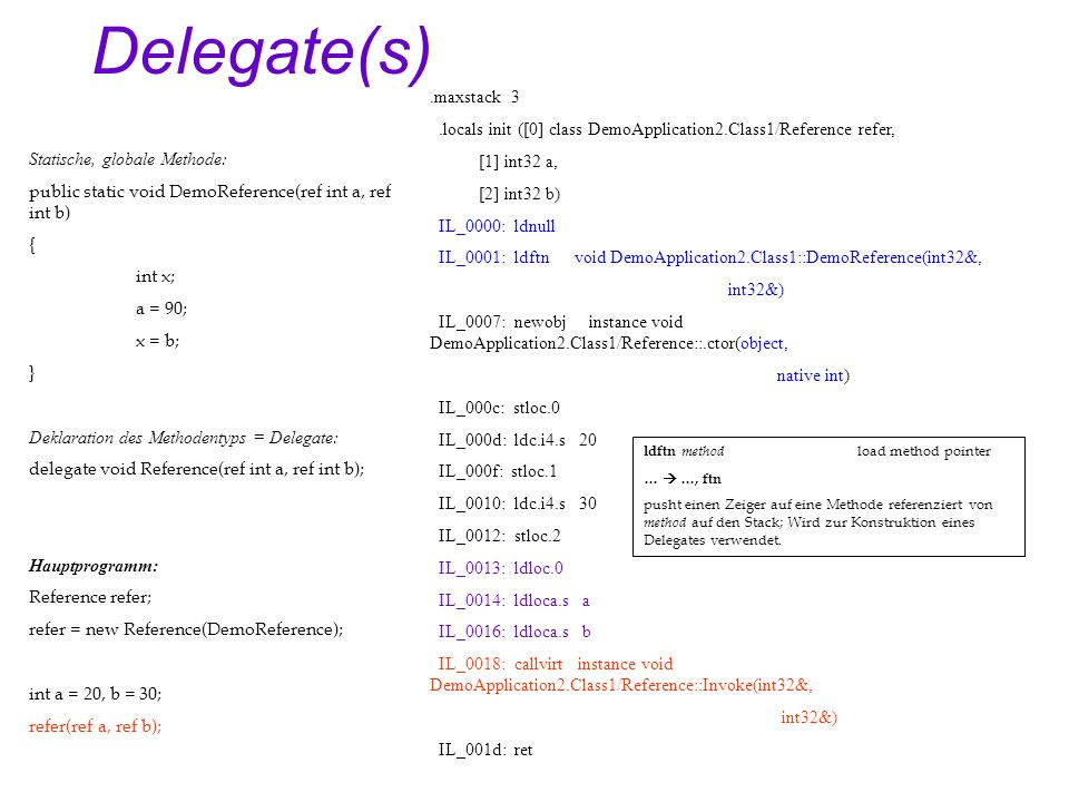 Delegate(s) Statische, globale Methode: public static void DemoReference(ref int a, ref int b) { int x; a = 90; x = b; } Deklaration des Methodentyps = Delegate: delegate void Reference(ref int a, ref int b); Hauptprogramm: Reference refer; refer = new Reference(DemoReference); int a = 20, b = 30; refer(ref a, ref b);.maxstack 3.locals init ([0] class DemoApplication2.Class1/Reference refer, [1] int32 a, [2] int32 b) IL_0000: ldnull IL_0001: ldftn void DemoApplication2.Class1::DemoReference(int32&, int32&) IL_0007: newobj instance void DemoApplication2.Class1/Reference::.ctor(object, native int) IL_000c: stloc.0 IL_000d: ldc.i4.s 20 IL_000f: stloc.1 IL_0010: ldc.i4.s 30 IL_0012: stloc.2 IL_0013: ldloc.0 IL_0014: ldloca.s a IL_0016: ldloca.s b IL_0018: callvirt instance void DemoApplication2.Class1/Reference::Invoke(int32&, int32&) IL_001d: ret ldftn method load method pointer … …, ftn pusht einen Zeiger auf eine Methode referenziert von method auf den Stack; Wird zur Konstruktion eines Delegates verwendet.