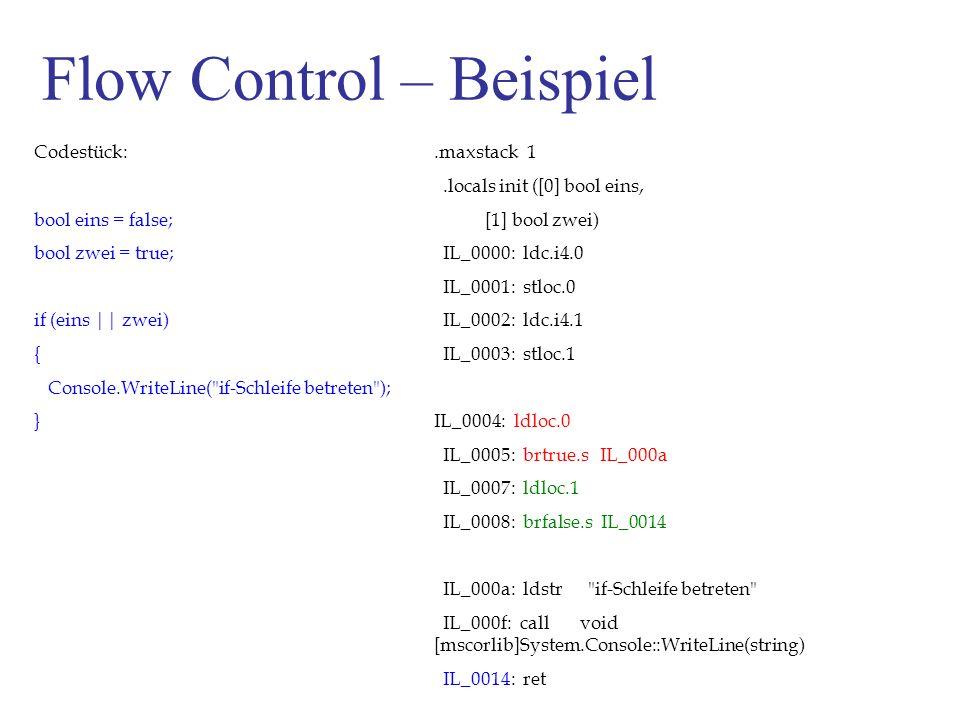 Flow Control – Beispiel Codestück: bool eins = false; bool zwei = true; if (eins || zwei) { Console.WriteLine( if-Schleife betreten ); }.maxstack 1.locals init ([0] bool eins, [1] bool zwei) IL_0000: ldc.i4.0 IL_0001: stloc.0 IL_0002: ldc.i4.1 IL_0003: stloc.1 IL_0004: ldloc.0 IL_0005: brtrue.s IL_000a IL_0007: ldloc.1 IL_0008: brfalse.s IL_0014 IL_000a: ldstr if-Schleife betreten IL_000f: call void [mscorlib]System.Console::WriteLine(string) IL_0014: ret