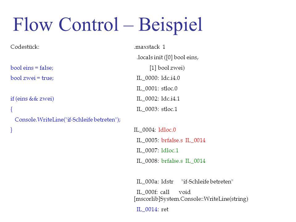 Flow Control – Beispiel Codestück: bool eins = false; bool zwei = true; if (eins && zwei) { Console.WriteLine( if-Schleife betreten ); }.maxstack 1.locals init ([0] bool eins, [1] bool zwei) IL_0000: ldc.i4.0 IL_0001: stloc.0 IL_0002: ldc.i4.1 IL_0003: stloc.1 IL_0004: ldloc.0 IL_0005: brfalse.s IL_0014 IL_0007: ldloc.1 IL_0008: brfalse.s IL_0014 IL_000a: ldstr if-Schleife betreten IL_000f: call void [mscorlib]System.Console::WriteLine(string) IL_0014: ret