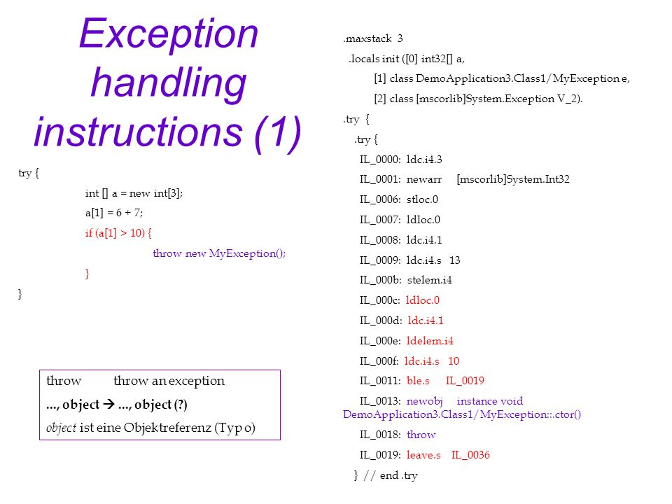 Exception handling instructions (1).maxstack 3.locals init ([0] int32[] a, [1] class DemoApplication3.Class1/MyException e, [2] class [mscorlib]System.Exception V_2)..try { IL_0000: ldc.i4.3 IL_0001: newarr [mscorlib]System.Int32 IL_0006: stloc.0 IL_0007: ldloc.0 IL_0008: ldc.i4.1 IL_0009: ldc.i4.s 13 IL_000b: stelem.i4 IL_000c: ldloc.0 IL_000d: ldc.i4.1 IL_000e: ldelem.i4 IL_000f: ldc.i4.s 10 IL_0011: ble.s IL_0019 IL_0013: newobj instance void DemoApplication3.Class1/MyException::.ctor() IL_0018: throw IL_0019: leave.s IL_0036 } // end.try try { int [] a = new int[3]; a[1] = 6 + 7; if (a[1] > 10) { throw new MyException(); } throwthrow an exception..., object..., object ( ) object ist eine Objektreferenz (Typ o)