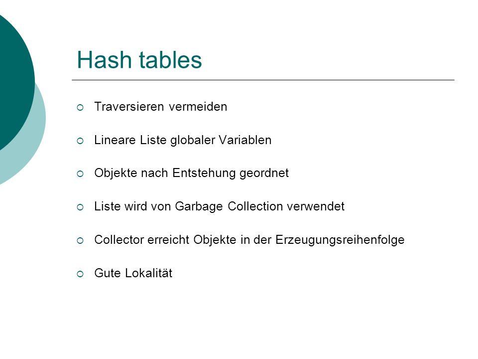 Hash tables Traversieren vermeiden Lineare Liste globaler Variablen Objekte nach Entstehung geordnet Liste wird von Garbage Collection verwendet Collector erreicht Objekte in der Erzeugungsreihenfolge Gute Lokalität