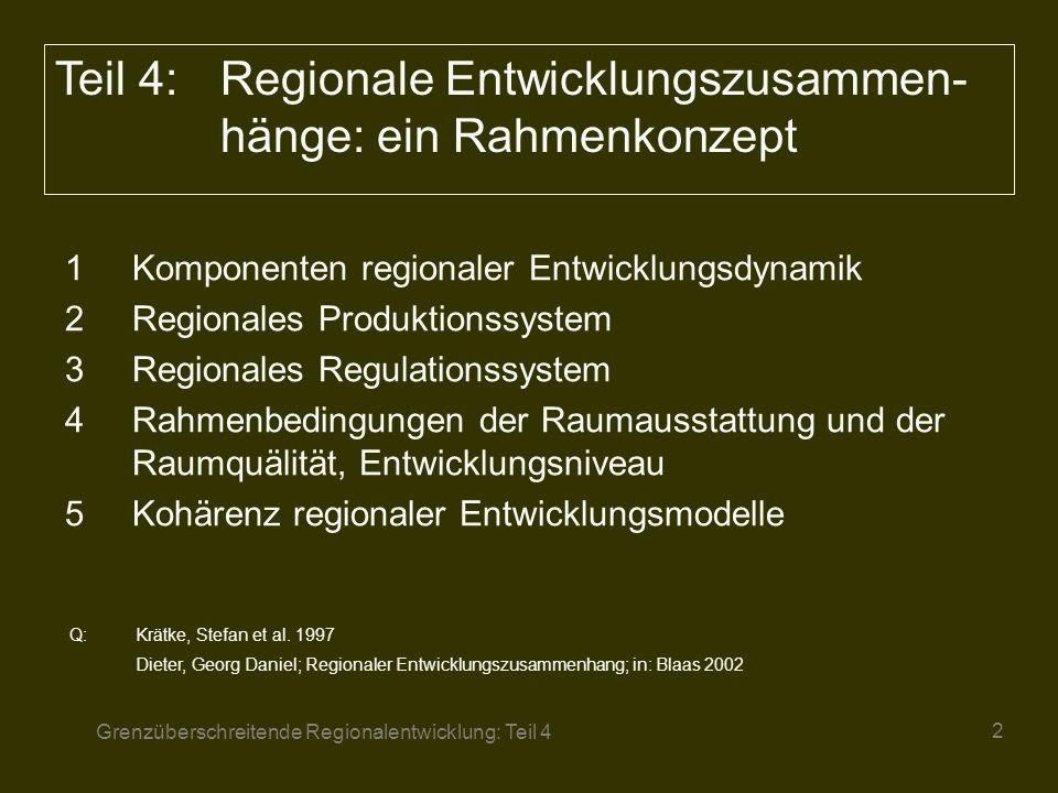 Grenzüberschreitende Regionalentwicklung: Teil 4 3 Die im vorangegangenen Kapitel dargestellten Konzepte und Ansätze sollen im folgenden zu einem Rahmenkonzept zur Erklärung regionaler Entwicklung zusammengeführt werden.