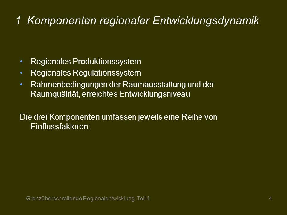 Grenzüberschreitende Regionalentwicklung: Teil 4 5 2Regionales Produktionssystem Branchencharakteristik Institutionelle Differenzierung des Unternehmenssektors Raumübergreifende Direktionspotentiale Umfang und Qualität des regionalen Arbeitskräftepotentials