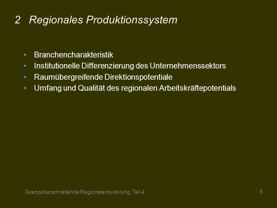 Grenzüberschreitende Regionalentwicklung: Teil 4 16 Regionales Produktionssystem 2.1 Branchencharakteristik 2.2 Inst.