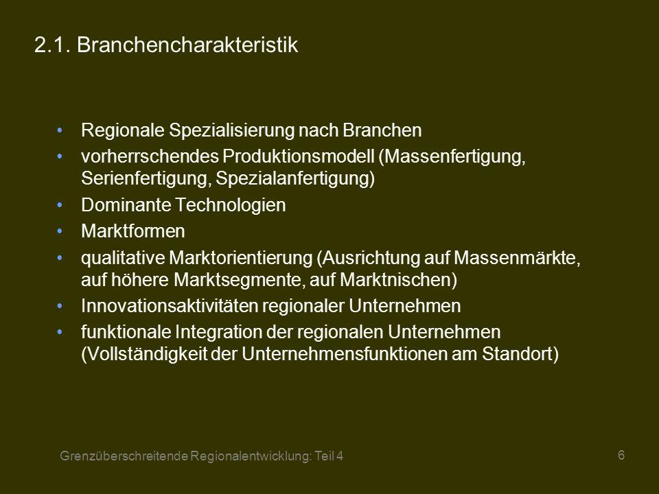 Grenzüberschreitende Regionalentwicklung: Teil 4 7 2.2.