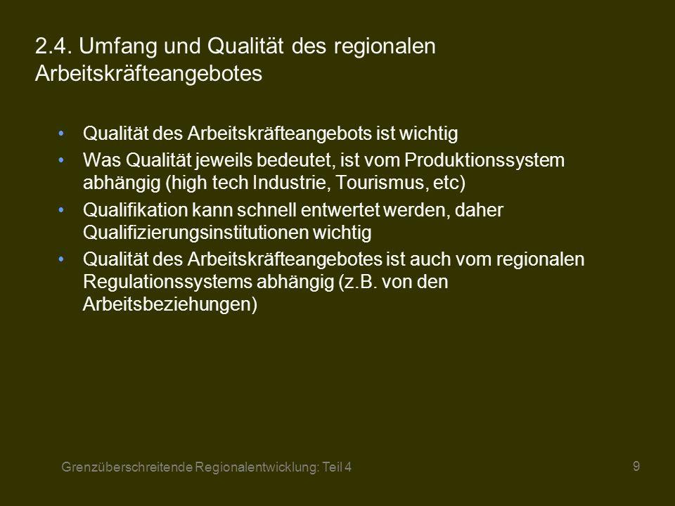 Grenzüberschreitende Regionalentwicklung: Teil 4 10 3Regionales Regulationssystem Koordinationsformen zwischen Unternehmen in räumlicher und qualitativer Dimension Qualität der industriellen Arbeitsbeziehungen Soziokulturelles Milieu und industrielle Kompetenz der Region Unterstützende Einrichtungen auf regionaler Ebene und staatliche Politik