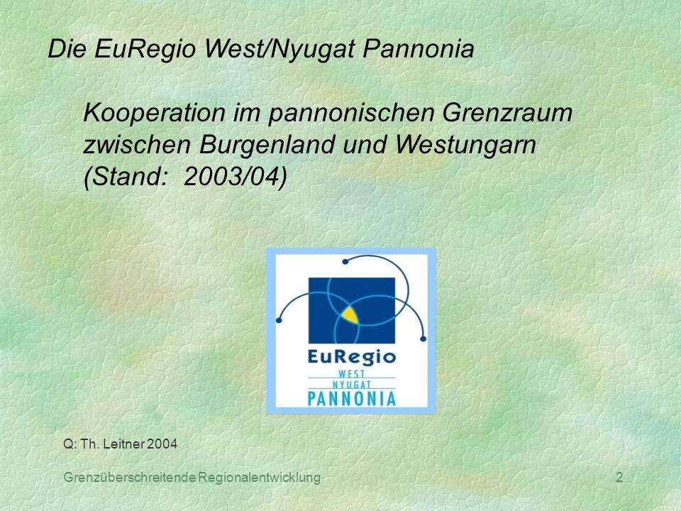 Grenzüberschreitende Regionalentwicklung2 Die EuRegio West/Nyugat Pannonia Kooperation im pannonischen Grenzraum zwischen Burgenland und Westungarn (S