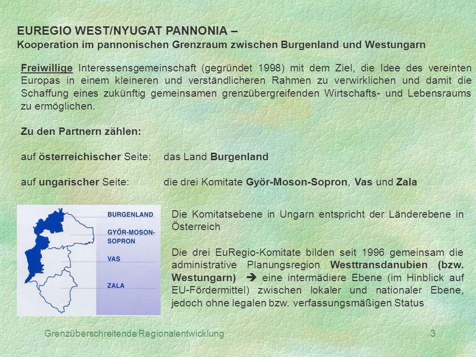 Grenzüberschreitende Regionalentwicklung3 EUREGIO WEST/NYUGAT PANNONIA – Kooperation im pannonischen Grenzraum zwischen Burgenland und Westungarn Frei