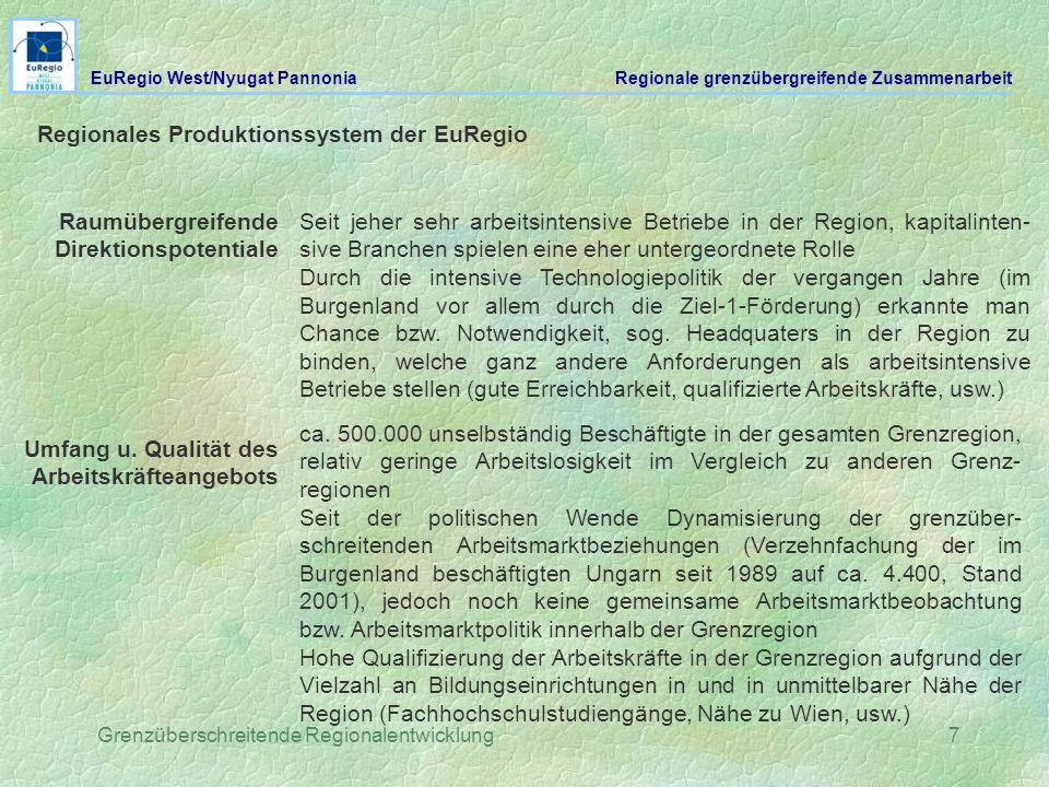 Grenzüberschreitende Regionalentwicklung7 Regionales Produktionssystem der EuRegio Raumübergreifende Direktionspotentiale Seit jeher sehr arbeitsinten
