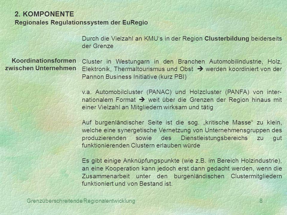 Grenzüberschreitende Regionalentwicklung8 2. KOMPONENTE Regionales Regulationssystem der EuRegio Koordinationsformen zwischen Unternehmen Durch die Vi