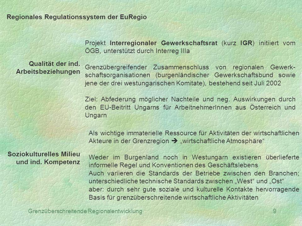 Grenzüberschreitende Regionalentwicklung9 Regionales Regulationssystem der EuRegio Qualität der ind. Arbeitsbeziehungen Projekt Interregionaler Gewerk