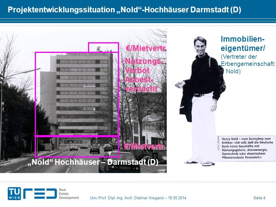 Seite 4 Univ.Prof. Dipl.-Ing. Arch. Dietmar Wiegand – 18.05.2014 Projektentwicklungssituation Nold-Hochhäuser Darmstadt (D) Immobilien- eigentümer/ (V